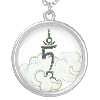 NECKLACE Tam - Seed syllable Green and White Tara