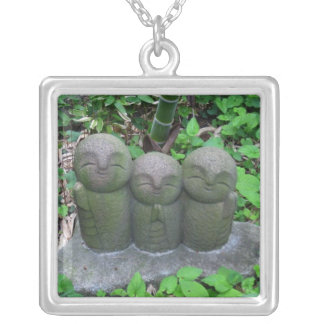 Necklace-Three Jizo Silver Plated Necklace