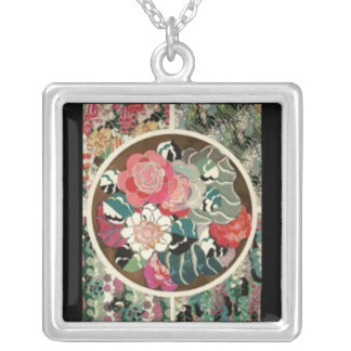 Necklace-Vintage Art-Fabric 3 Silver Plated Necklace