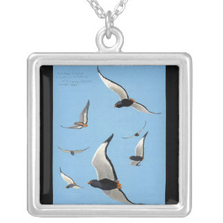 Necklace-Vintage Chicago Art-Abyssinian Birds 13 Silver Plated Necklace