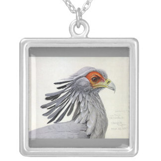 Necklace-Vintage Chicago Art-Abyssinian Birds 19 Silver Plated Necklace