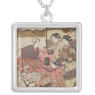 Necklace-Vintage Japanese Art-Shigemasa Kitao 2 Square Pendant Necklace