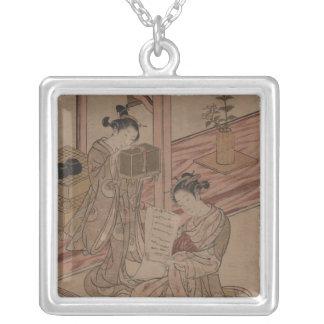 Necklace-Vintage Japanese Art-Shigemasa Kitao Square Pendant Necklace