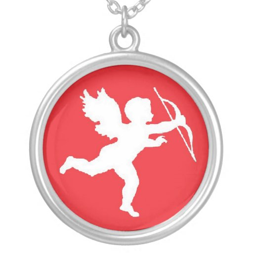 Necklace White Cupid On Red