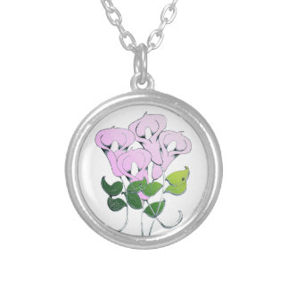 Necklace with Lily Flower Art
