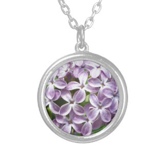 necklace with photo of beautiful purple lilacs