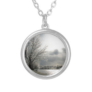 necklace with photo of icy winter landscape