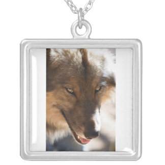 Necklace with wolf face