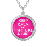 keep calm and fight like a girl  Necklaces