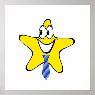 Necktie Star Cartoon Poster