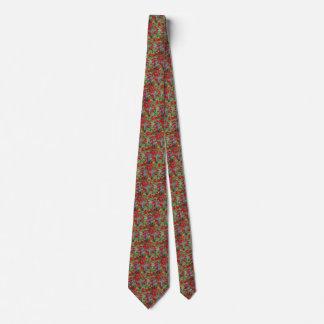 Necktie with Red Flowers Green Bkgrd