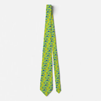 Necktie with Yellow Background and Blue Balls Art