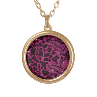 Neclace with pink leapard chain gold plated necklace