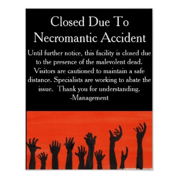 Halloween Themed Necromantic Accident Warning Poster