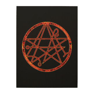 Necronomicon (burning) wood print