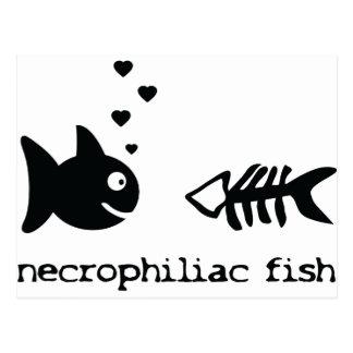 necrophiliac fish icon postcard