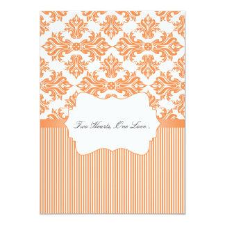 Nectarina e invitación blanca del boda del damasco invitación 12,7 x 17,8 cm
