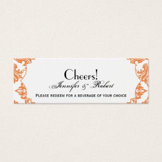 Nectarine and White Damask Wedding Drink Ticket