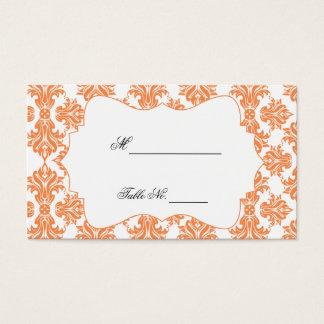 Nectarine and White Damask Wedding Place Cards
