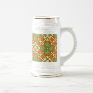 Nectarine, Green, Turquoise, Camel Native American 18 Oz Beer Stein