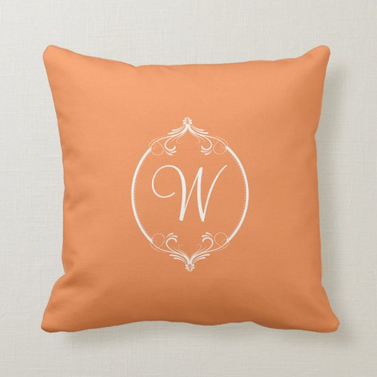 Nectarine Orange and White Ornate Monogram Throw Pillow