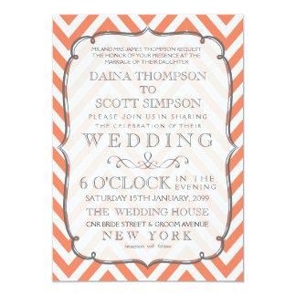 Nectarine Orange Chevron Stripes Wedding Invite