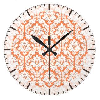 Nectarine Orange Damask Large Clock