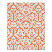 Nectarine Orange Damask Poster