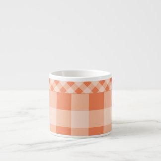 Nectarine Orange gingham 6 Oz Ceramic Espresso Cup
