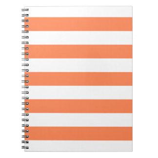 Nectarine Orange Stripes Pattern Notepad Spiral Notebook