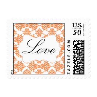 Nectarine White Damask Wedding Love Postage