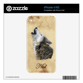 NED Howling Grey Wolf Wildlife iPhone 4 Skin