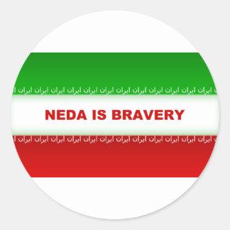 Neda is Bravery Classic Round Sticker