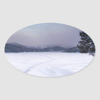 Nederland Colorado Barker Reservoir Winter Secnic Oval Sticker
