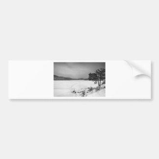Nederland Colorado Barker Reservoir Winter View BW Bumper Sticker