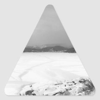 Nederland Colorado Barker Reservoir Winter View BW Triangle Sticker