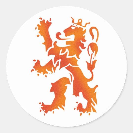 Nederland wereldkampioen 2014 lion classic round sticker