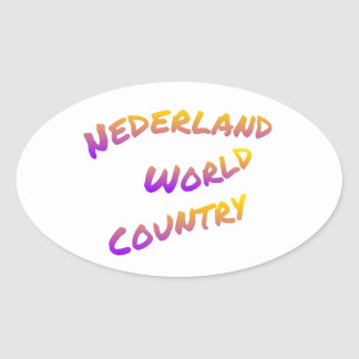 Nederland world country, colorful text art oval sticker