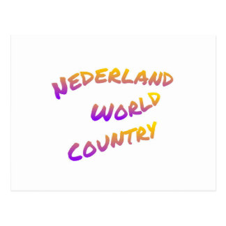 Nederland world country, colorful text art postcard