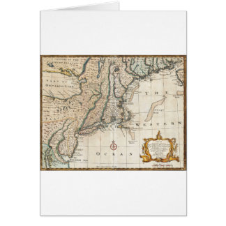 Nee England Ancient Map 1747 Greeting Cards