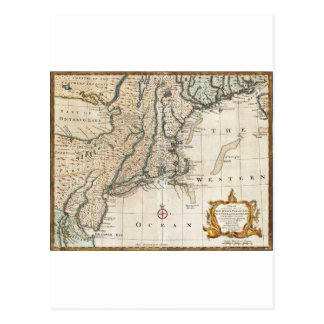 Nee England Ancient Map 1747 Postcard