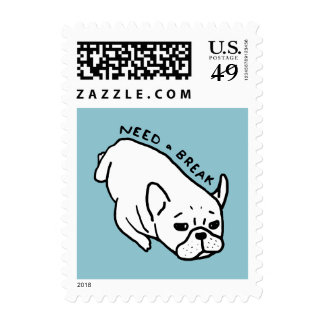 Need a break, the cute Frenchie wants a nap Postage