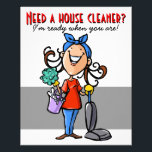 """Need a House Cleaner? Custom marketing flyer<br><div class=""""desc"""">This is a colorful and charming marketing flyer that expresses that you are cheerful, energetic and eager to begin your housecleaning business immediately. The flyer is fully customizable and ready to be personalized as you choose. It features a hand drawn woman with a large happy smile. She is wearing a...</div>"""