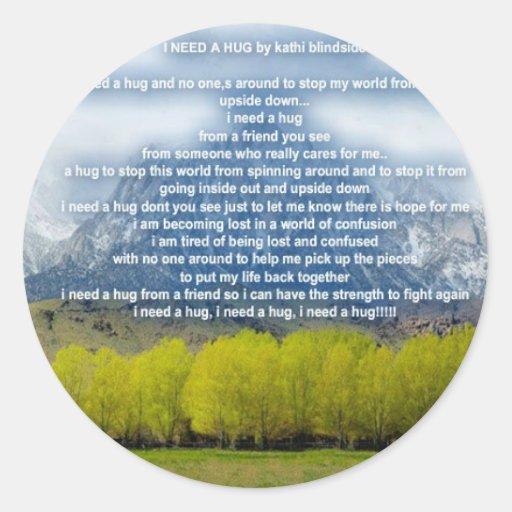 need a hug round sticker