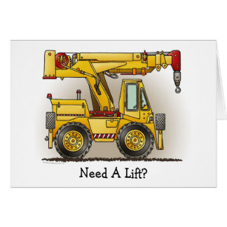 Need A Lift Crane Truck Note Card