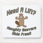 Need A Lift Naughty Beavers Ride Free Mouse Mats