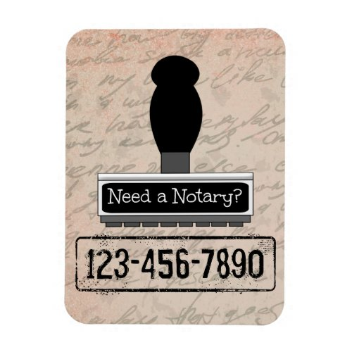 Need a Notary Rubber Stamp Customized with Phone Number Magnet
