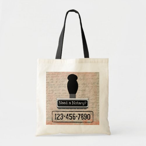 Need a Notary Rubber Stamp with Phone Number Budget Tote Bag