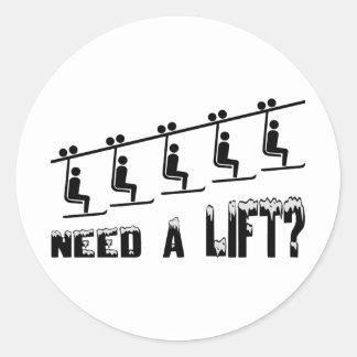 Need A Ski Lift Classic Round Sticker