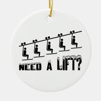 Need A Ski Lift Double-Sided Ceramic Round Christmas Ornament